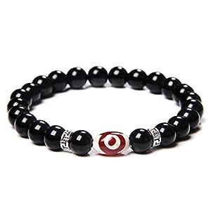 FIISH Tibetische Agat Armbänder Handgemachte Elastische Buddha Neun Augen Dzi Achates Armband Männer Schwarz Poliert Schwarz Onyx Steinperlen Armreif