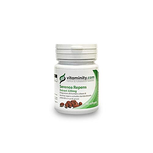 Vitaminity Serenoa Repens Extract 320mg 90-95% - Integratore Saw Palametto Prostata e Caduta Capelli - 10 Softgels