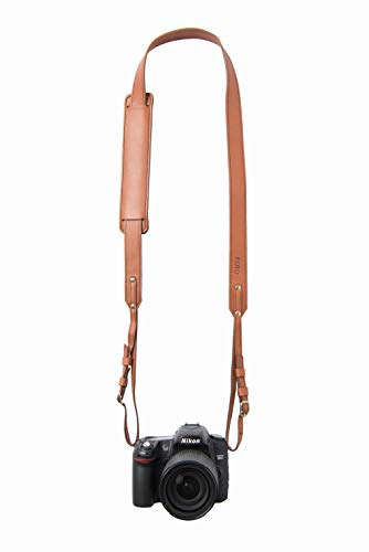Cognac Skinny Fotostrap | Cognac Brown Genuine Leather Camera Shoulder Neck Strap | for Nikon, Canon, Sony, Pentax, Leica, Olympus DSLR, Mirrorless | Best Photographer Gifts | Gives Back