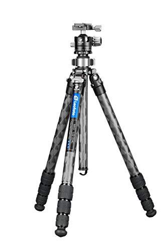 Leofoto LQ-324C+LH-40 Modulares Kohlefaser-Stativ mit Schnellwechsel-Mittelsäule/Spitzdach und Schmetterlingsverschluss-Verschluss, CF 4 Abschnitte und 40 mm niedrigem Kugelkopf