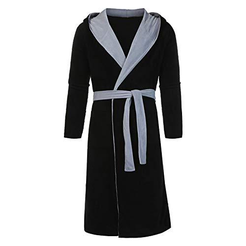 QiFei Dames en heren knuffelfleece badjas met capuchon maat badjas voor heren van katoen met capuchon