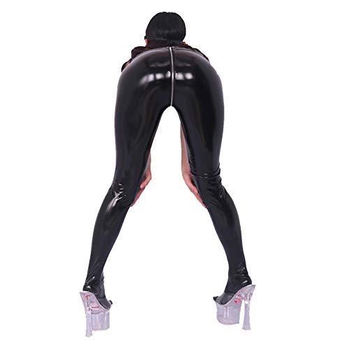 ZHMIAO Pantalones de látex de látex laminado de PVC, aspecto mojado, mallas ajustadas en forma de U, cremallera completa, color negro y azul
