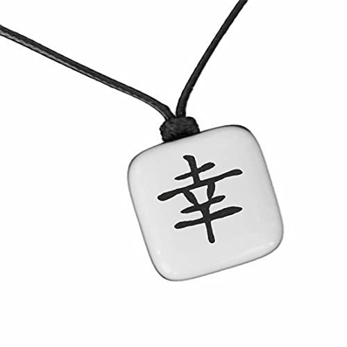 XanaLú Studio Kanji buena suerte, Colgante de buena suerte en japonés para hombre, mujer, Regalo para mejor amigo, Collar con kanji presentado para regalo, hecho a mano (Kanji Suerte Blanco)