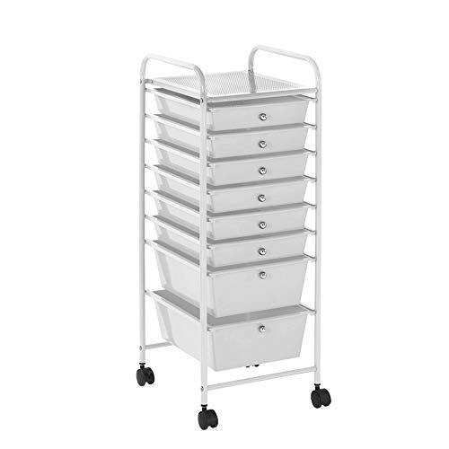 Urban Shop 8 Drawer Rolling Storage Cart, White