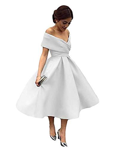 Tsbridal Women V Neck Bridesmaid Dresses Pockets Off Shoulder Wedding Party Dress White lace up US 8