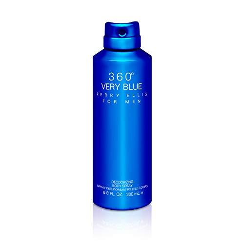 Perry Ellis Fragrances 360 Very Blue for Men, Deodorizing Body Spray, 6.8 Fluid Ounce