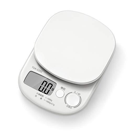 キッチンスケール デジタルはかり スケール はかり 料理 1kg 0.1g ホワイト TGK-S202 Rantom
