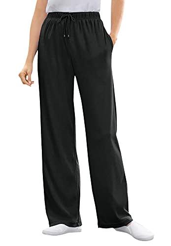 Woman Within Women's Plus Size Petite Sport Knit Straight Leg Pant, Black, 3X Plus