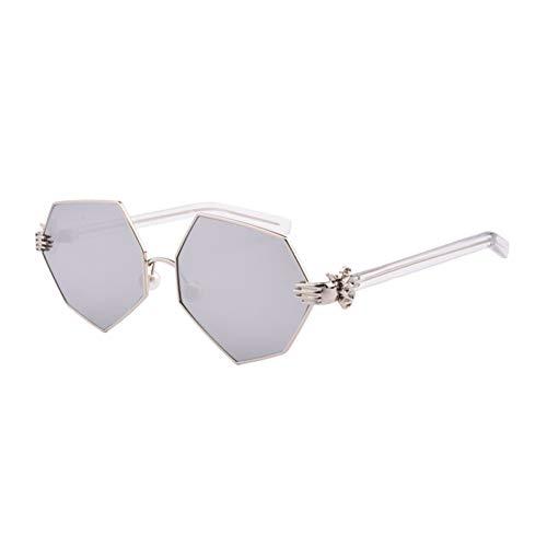 KCJKXC dames handzonnebril vintage parel cat eye zonnebril metaal bril spiegel schaduw