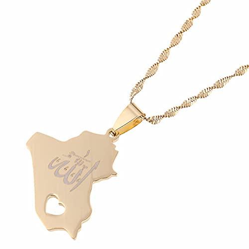 Collar con colgante de mapa de la República de Irak, colgante de nombre de Allah de Color dorado, joyería de corazón de Allah
