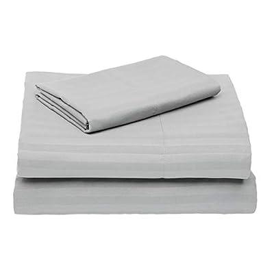 AmazonBasics Deluxe Striped Microfiber Bed Sheet Set - Twin Extra-Long, Dark Grey
