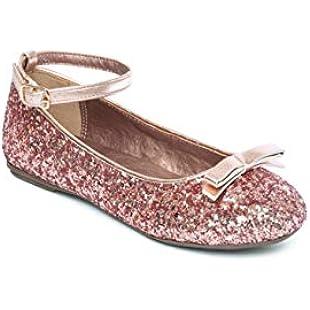 Girls Ballet Flats Glitter Ballerina Shoes Size 10 11 12 13 1 2 Infant - Junior (11 UK Child, Rose Gold):Carsblog