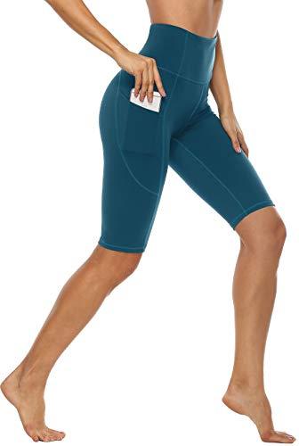 Anwell Trainingshose Damen Sport kurz Beine Push up Leggins mit Tasche High Waist Tights Yogahose Slim Dunkelgrün M