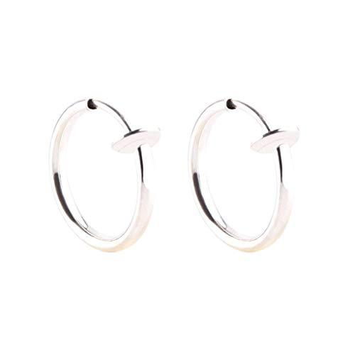 Janly - Pendientes de aro para mujer, 2 unidades, con clip, nariz, labio, falso retráctil, para el día de San Valentín