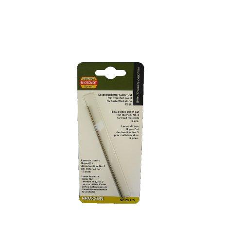 PROXXON 28113 Spuer Cut Feinschnitt Sägeblätter OHNE Querstift fein verzahnt, 12 Stück Laubsägeblätter für harte Werkstoffe wie Eisen, Pertinax