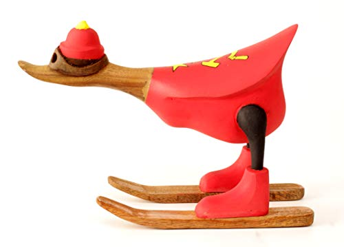 Brave Wings Hand Carved and Painted Wooden - Skiing Duck in CCCP Soviet Flag Ski Jacket Type 3 - Wood Ornament Sculpture Figurine Statue Unique Table Decoration Home Decor Gift for Christmas - 2688