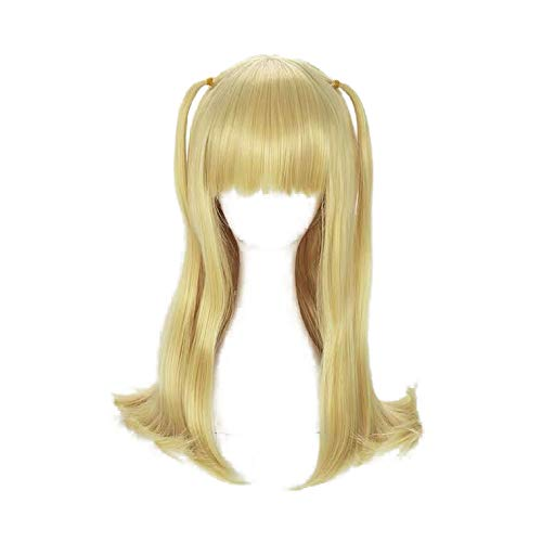 PWEINCY Long Gloden Ponytails Misa Amane Cosplay Wig with Bangs for Women Halloween Costume