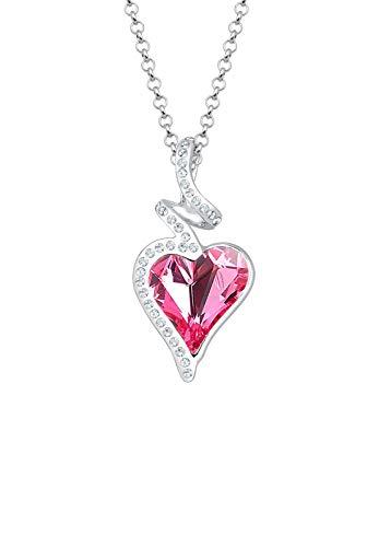 Elli Damen-Kette mit Anhänger Herz Liebe 925 Silber pink Marquiseschliff Kristall 45 cm - 0111623016_45