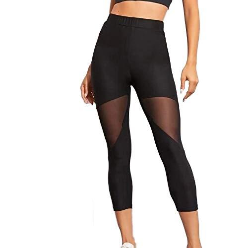 Keepwin Leggins Push Up Mujer Pantalones Yoga Mujer Mallas de Deporte de Mujer Transparente Elásticos Cintura Alta Pantalon para Running Gym Fitness (Negro, Small)