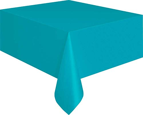 "Teal Plastic Tablecloth, 108"" x 54"""