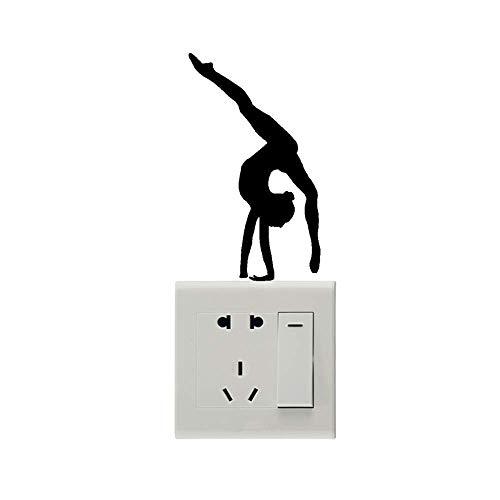 posterguo Lichtschaltersticker 4pcs Gymnastics Switch Stickers Wandtattoos Dekorieren Sie Ihr Zuhause PVC Art Stickers Home Decoration Black