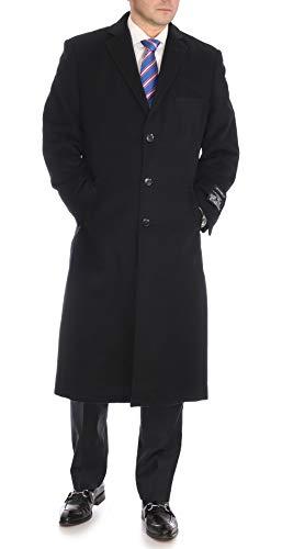 Mens Regular Fit Solid Black Full Length Wool Cashmere Overcoat Top Coat