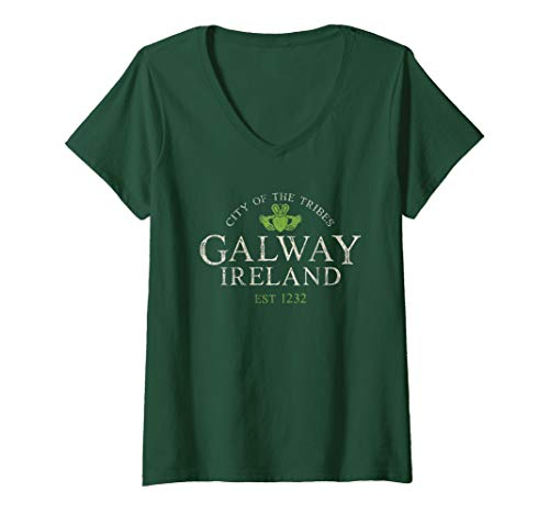Womens Vintage Irish Souvenir Gifts: Claddagh Galway Ireland V-Neck T-Shirt