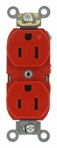 Leviton 5262-IGR 15-Amp, 125 Volt, Industrial Series Heavy Duty Specification Grade, Duplex Receptacle, Industrial Grade, Isolated Ground, Red
