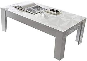 NOUVOMEUBLE Tavolino Basso Design Bianco Laccato con serigrafie Paolo