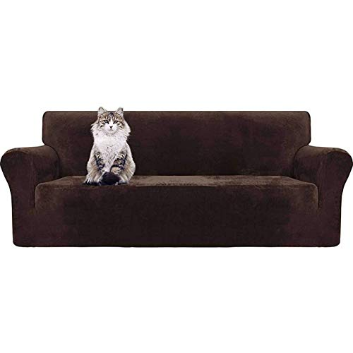 JBNJV Funda de sofá de Terciopelo elástico para 123 Cushion Funda de sofá Funda de sofá con Correas Antideslizantes Protector de Muebles para Mascotas Niños-Marrón-3 plazas 190-230cm