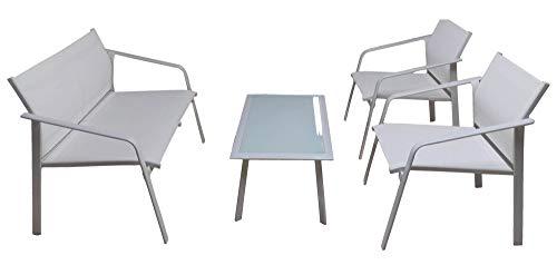vorghini Set Salotto da Giardino in Ferro Divano 2 Poltrone e Tavolino Gand Bianco