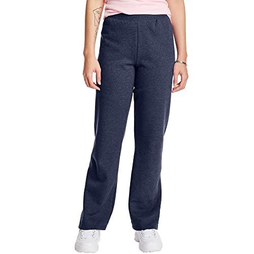 Hanes Women's Petite EcoSmart Open Bottom Leg Sweatpants, Navy Heather, Large