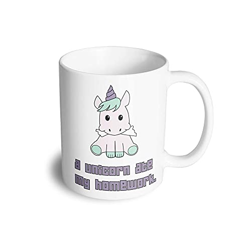 Joke Student - Taza de té con texto 'A Unicorn Ate My Homework', diseño con texto 'A Unicorn Ate My Homework', color blanco y negro