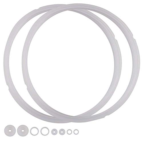 Power Pressure Cooker Sealing Ring Clear Color Multi-Cooker Rubber Gaskets for Many 5 Liter 6 Liter 5 Quart and 6 Quart Models, 2 Sets