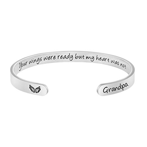 Personalized Grandpa Memorial Bracelet Sympathy Jewelry Loss of Grandpa Gift Her Wings Were Ready My Heart Was Not