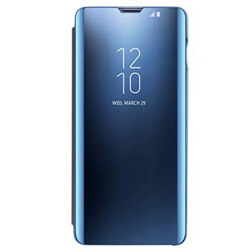 AICase Funda para Samsung Galaxy S10 Plus,Samsung Clear View Cover Flip Cover Carcasa,Soporte Plegable,Case de Teléfono para Samsung Galaxy S8 Plus (Azul)