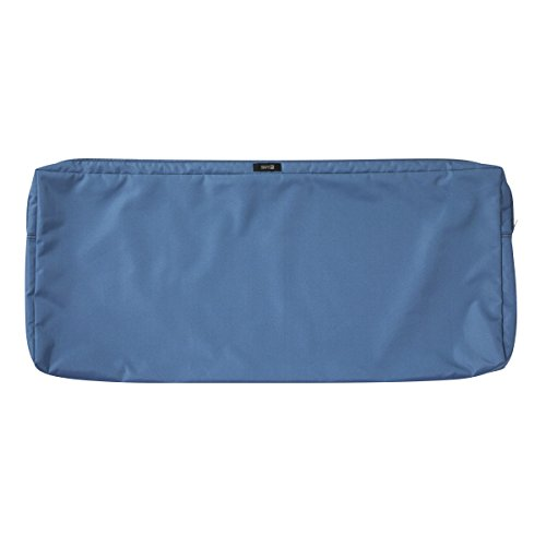 Classic Accessories Ravenna Patio Bench/Settee Cushion Slip Cover - Durable Outdoor Cushion, Empire Blue, 48'L x 18'W x 3'Thick