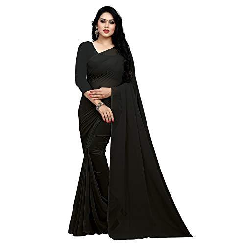 Sidhidata Women's Georgette Saree With Unstiched Blouse Piece (plain black 748_Black), Free Size