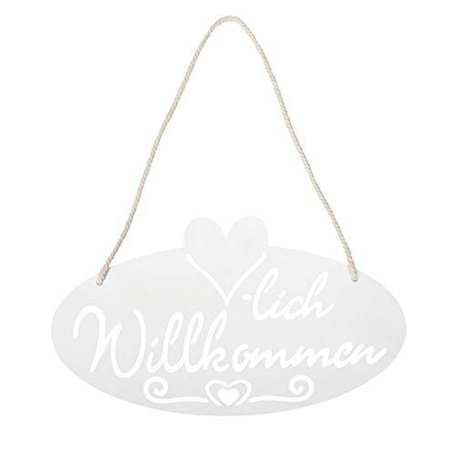 levandeo Schild Willkommen Herz 28,5x16cm Garten-Deko Weiß Türschild Wandbild Wandschild