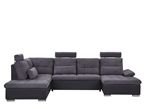 U-Shaped Fabric Sofa Bed Dark Grey with Storage Adjustable Headrests Halden