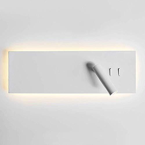 Lámpara de cama moderna Foco de pared Apliques de hotel blancos Luz COB Accesorio de luces Cabecera de la habitación Punto de lectura Noche con retroiluminación LED e interruptor [Clase energética A +