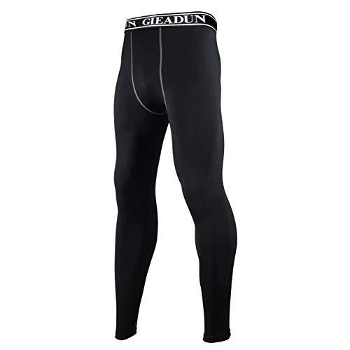 GIEADUN Leggings Hombre, Pantalón de Compresión Secado Rápido Pantalones Deporte Mallas Largas para Running Fitness Yoga (negro*1, L)