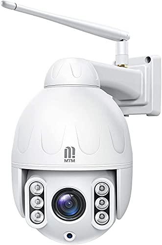 5MP Cámara Vigilancia WiFi Exterior,MTM Cámara PTZ Vigilancia Exterior WiFi 5 X Zoom,Visión Nocturna 50M,Detección de Movimiento,Audio Bidireccional, Cámara de Material Metálico con Tarjeta SD de 32GB