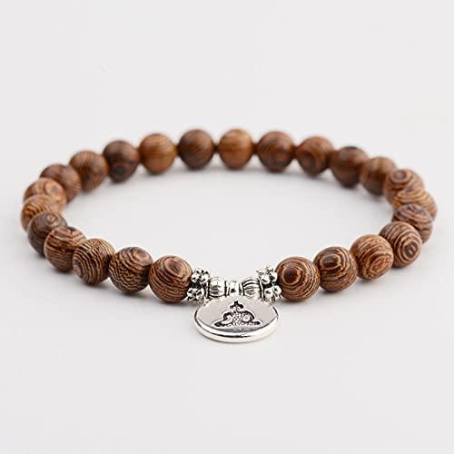 Pulsera de budismo étnico con un colgante de loto Homme Pulsera con perlas de madera de chakra de las mujeres