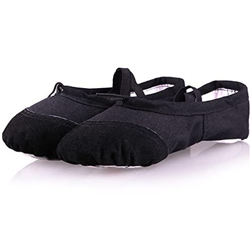 AGYE Zapatillas de Ballet, Zapatos de Ballet Mujer,Zapatillas de Baile de Ballet Zapatillas de Baile de Gimnasia Plana con Suela Partida,Black-38