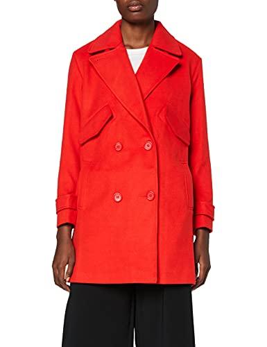 Marca Amazon - find. Abrigo Cruzado Mujer, Rojo (Red), 38, Label: S