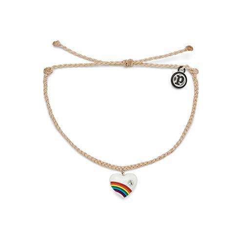 Pura Vida Silver Vintage Heart Bracelet - 100% Waterproof, Adjustable Band - Plated Brand Charm, Vanilla