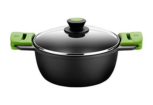 BRA PRIOR - Cacerola alta con tapa de cristal y asas de silicona extraíbles, 20 cm, apta para todo tipo de cocinas incluida inducción y horno.Libre de PFOA.