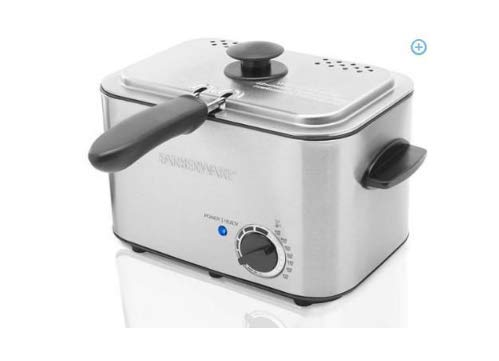 Farberware 1.1 Liter Stainless Steel Deep Fryer with Dishwasher-Safe Basket, Lid & Handle