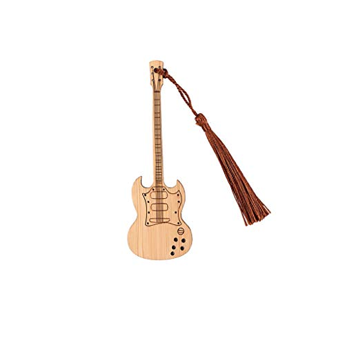 Alnicov Segnalibro a forma di chitarra segnalibro in bambù vintage personalizzato libro Marker Art Craft Decor Gift-1C10